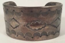 Vintage Native Indian Thick Sterling Silver Stampwork Repousse Bracelet Cuff