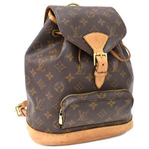 Auth LOUIS VUITTON Monogram Montsouris MM M51136 Backpack Brown Canvas AE12048