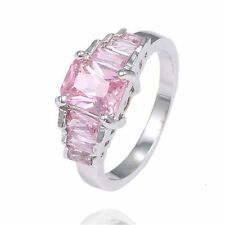 Pink Cubic Zirconia Band Ring Silver Size 9