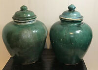 Rare Pair 18th Century Chinese Green Ginger Jars With Lids