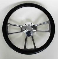 "1995-1999 Chevrolet Full Size Pick Up Black Billet Steering Wheel 14"" Bowtie Cap"