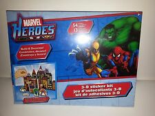 MARVEL HEROES 3-D STICKER KIT W/ 54 STICKERS & 13 PUNCH OUT-NEW