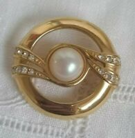 Vintage Monet Brooch Gold tone Faux Pearls Circle Round Modernist Rhinestone Pin