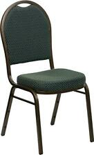 HERCULES Series Dome Back Stacking Banquet Chair w/Green Patterned Fabric Chair