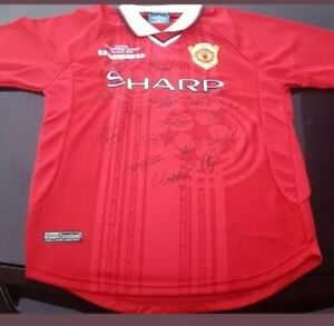 MANCHESTER UNITED 1998-1999 TREBLE  WINNERS SIGNED JERSEY COA CHAMPIONS LEAGUE
