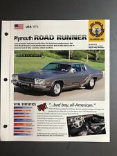"1973 Plymouth Road Runner IMP ""Hot Cars"" Spec Sheet Folder Brochure Awesome L@@K"
