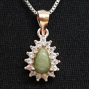 .60ctw Cat's Eye Quartz & Diamond Cut White Sapphire 14K Rose Gold 925 Pendant