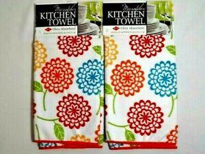 Ritz Floral Medallion Kitchen Towel 2-packs Microfiber Ultra Absorbent NEW