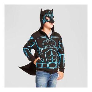 New Boys XL 16 Batman Hooded Sweatshirt Hoodie Glow in Dark Cape Mask Black Blue