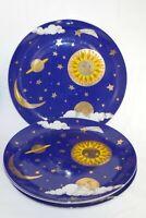 Dept 56 Sun, Moon, Stars, Clouds Cobalt Blue Dinner Plates set of 4