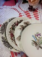 4 Vintage Mismatched Ironstone China Dessert Cake Plates Brown Transferware #184