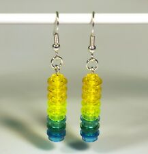 Earrings made with LEGO bricks - shades of yellow, green and blue