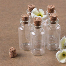 12Pcs 1ML Clear Glass Bottle With Cork Containers Glass Storage Jars US Stock