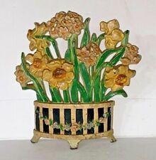 Basket Of Flowers Door Stop #266 By Hubley - 1930'S