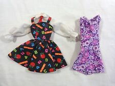 BARBIE Doll Clothing Lot of 2 DRESSES School Teacher Print and Purple Floral