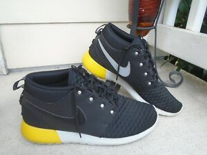 Nike Roshe Run Sneakerboot MID Sz 10.5 Black Quilted Grey Yellow 615601-008
