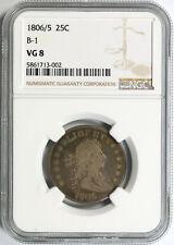 1806/5 25c Draped Bust Quarter B-1 NGC VG8