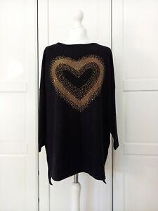 Frank Usher Black Knit Heart Crystal Embellished Studded Jumper BNWT S/M