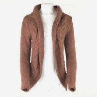 Elsamanda Sz S Wool Alpaca Cardigan Red Open Face Cable Knit Soft Feel        AA