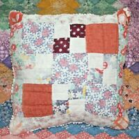 Throw Pillow Made With Vintage Farmhouse Nine Patch Plaid Feedsack Quilt #1