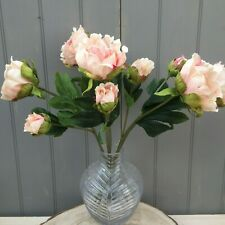 Bunch of 5 Antique Pink / Peach Artificial Silk Peonies ,Beautiful Faux Flowers