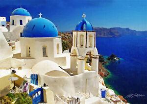 Santorini Oia view 4 Greek Islands paintings Photo print Canvas paper 3 sizes