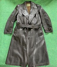 VTG Military Uniform Genuine Leather Jacket Trench Coat Striwa Officer German 70