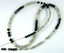 Natural Loose Diamonds Round Bead Black White I3 Clarity 8.00 Inches 9.48 Ct Q57