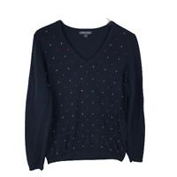 Tommy Hilfiger Womens Sweater Size M Blue Dot 100% Cotton Long Sleeve V-Neck