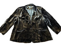 Caslon Womens Brown Iridescent Jacket Blazer Plus 22W Lined Pockets Rayon Silk