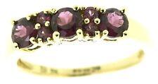 9ct yellow gold rings half eternity round rhodolite garnets size N vintage