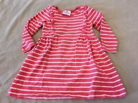 Hanna Andersson Dress 90 Girls Pinafore Ruffles Striped Coral