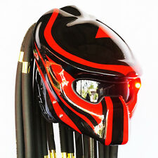 Pro Predator Helmet Glossy Black Red Motorcycle Open Face Electric Lamp Casco