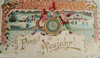 """""""Neujahr, Zwerge, Uhr"""" 1902, Prägekarte, rechts unten  ein Knick♥ (3178)"""