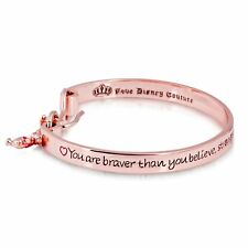 Disney Rose Gold-Plated Winnie the Pooh Engraved Message Bangle -Couture Kingdom