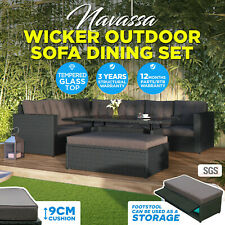 8 Seater PE Wicker Rattan Outdoor Setting Dining Patio Furniture Set w/ Storage