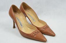 MANOLO BLAHNIK brown genuine leather pointed heels 37