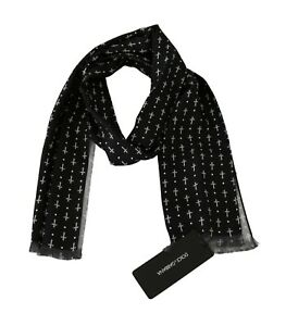 DOLCE & GABBANA Scarf Black 100% Silk Cross Dotted Slim Necktie 140x25