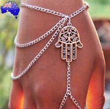 Hamsa Hand Boho Silver Bracelet Ring Harness Chain Bohemian Beach Jewellery Gift