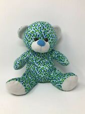 "Kellytoy Teddy Bear Plush Stuffed Animal Blue Green Toy 12""  Cheetah Pattern"