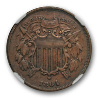 1864 Small Motto 2c Two Cent Piece NGC XF 40 Extra Fine Full Readable Motto !