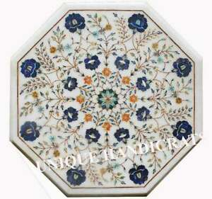 White Marble Custom Coffee Top Table Inlaid Marquetry lapis Stone Art Home Décor
