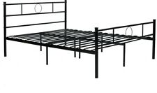 Steel Slated Full Size Bed Frame Durable Classical Style Head/Foot Board Black
