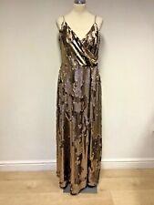 BNWT MYLEENE KLASS BRONZE SEQUINED LONG EVENING DRESS SIZE 16