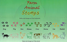FARM ANIMAL STAMPS Animal & Footprint COW SHEEP PIG HORSE RABBIT HEN - Set of 8