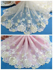 "6""*1Y Embroidered Floral Tulle Lace Trim~Light Yellow+White+Ivory~Good Fortune~"