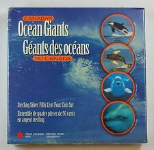 1998 Canada 50 Cent Sterling Silver 4 Coin Set Ocean Giants w/Box & COA