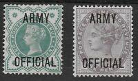 SG O42 & O43. 1/2d.Blue-Green & 1d.ARMY OFFICIAL. V.Fine & Fresh L.M.M. Ref.0/93