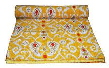 Indian Handmade Kantha Quilt Throw Bedspread Yellow Ikat Print Cotton Queen Size