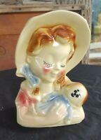 Vintage Shawnee Pottery USA 810 Wall Pocket Girl w/ Doll Head Vase Planter